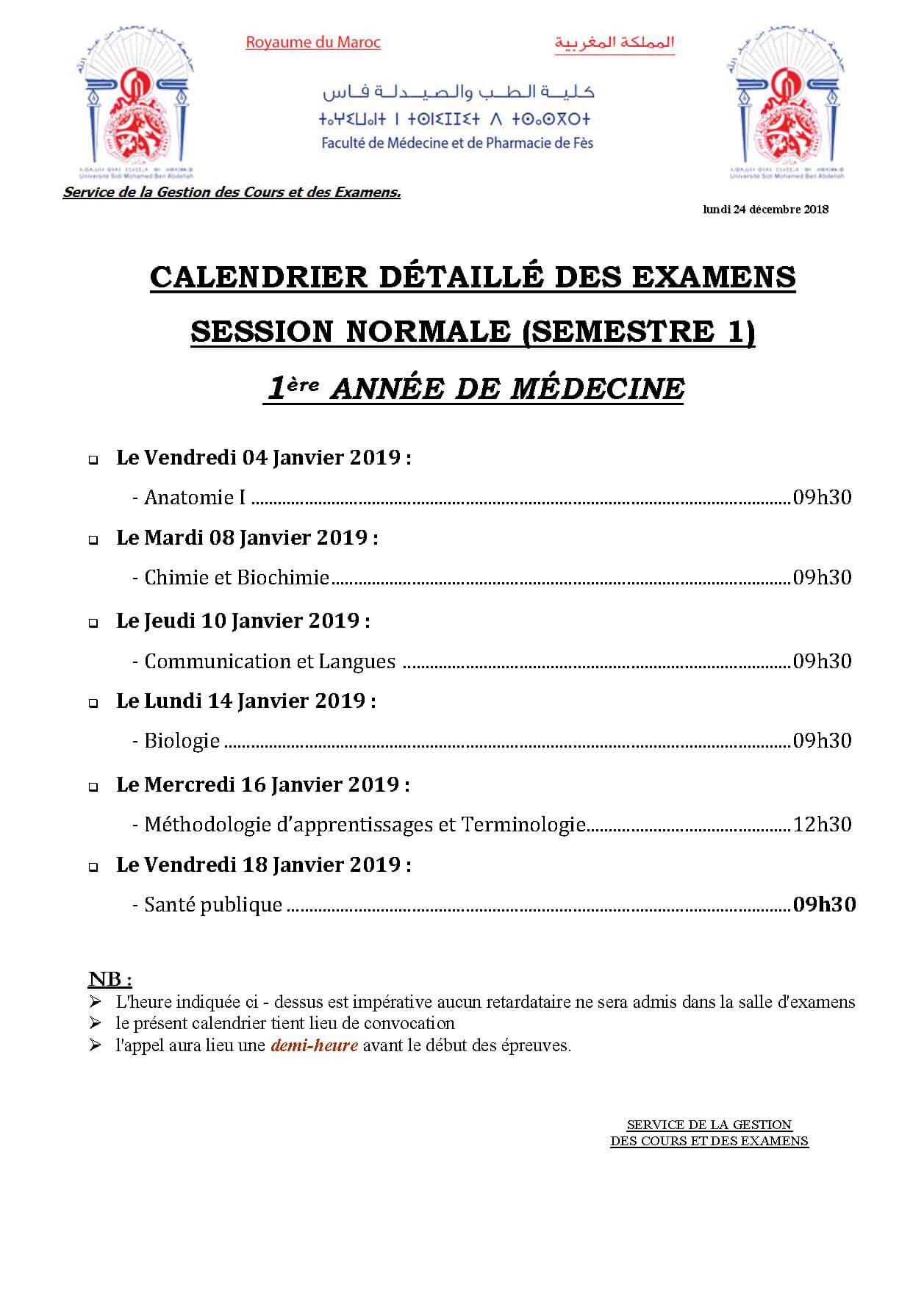 Calendrier Des Examens Sciences Po.Les Examens De La Session De La Session Normale 2018 2019